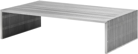 zuo novel rectangular coffee table brushed stainless steel