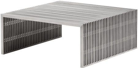 zuo novel square coffee table brushed stainless steel