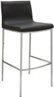 Nuevo Living Colter Counter Stool In Black Genuine Leather And Chromed Steel