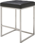 Nuevo Living Chi Counter Stool In Black Naugahyde Upholstery And A Brushed Stainless Steel Frame