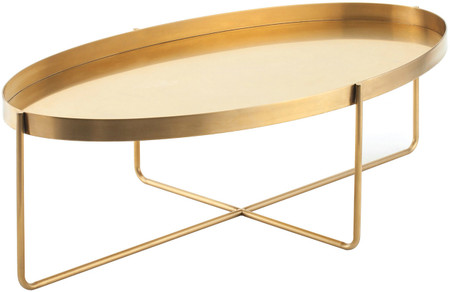 Nuevo Living Gaultier Coffee Table In Gold Brushed Stainless Steel