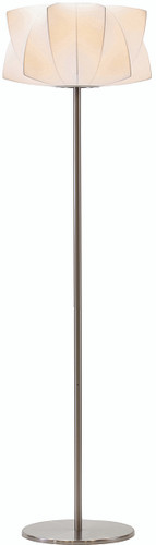 Nuevo Living Lex Floor Lamp In Brushed Stainless Steel With White Poly Resin Shade