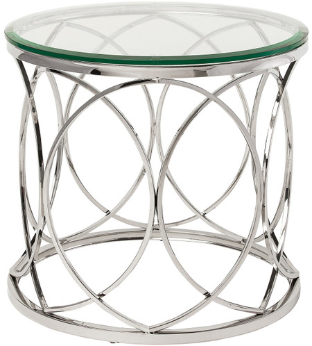 Nuevo Living Juliette Side Table In Stainless Steel With Beveled Edge Tempered Glass Round Top
