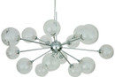 Yves Pendant Lamp Made With Chrome Steel, Clear Exterior Glass Shade And Frosted White Interior Glass Shade