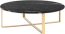 Nuevo Rosa Coffee Table In Brushed Gold Stainless Steel With A Black Marble Top