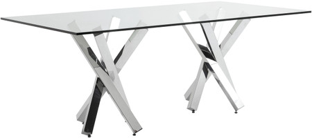 Nuevo Living Francois Dining Table In Made With Polished Stainless Steel With A Rectangular Tempered Glass Top