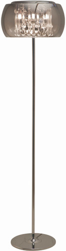 Alain Floor Lamp With Translucent Electroplated Glass Shade And Clear Crystals