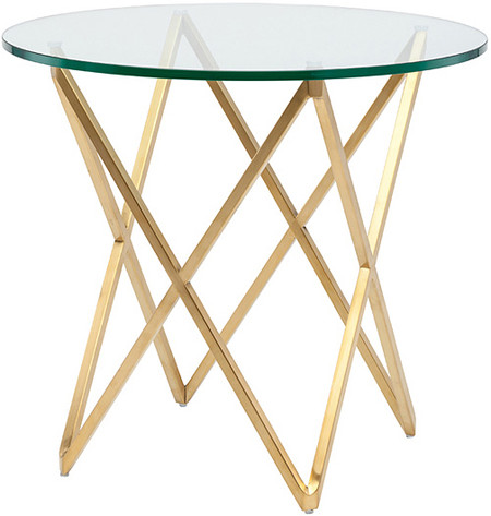 Lattice Side Table Gold Brushed Stainless Steel