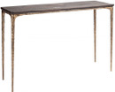 Kulu Console Table In Seared Oak And Gilded Bronze Cast Iron