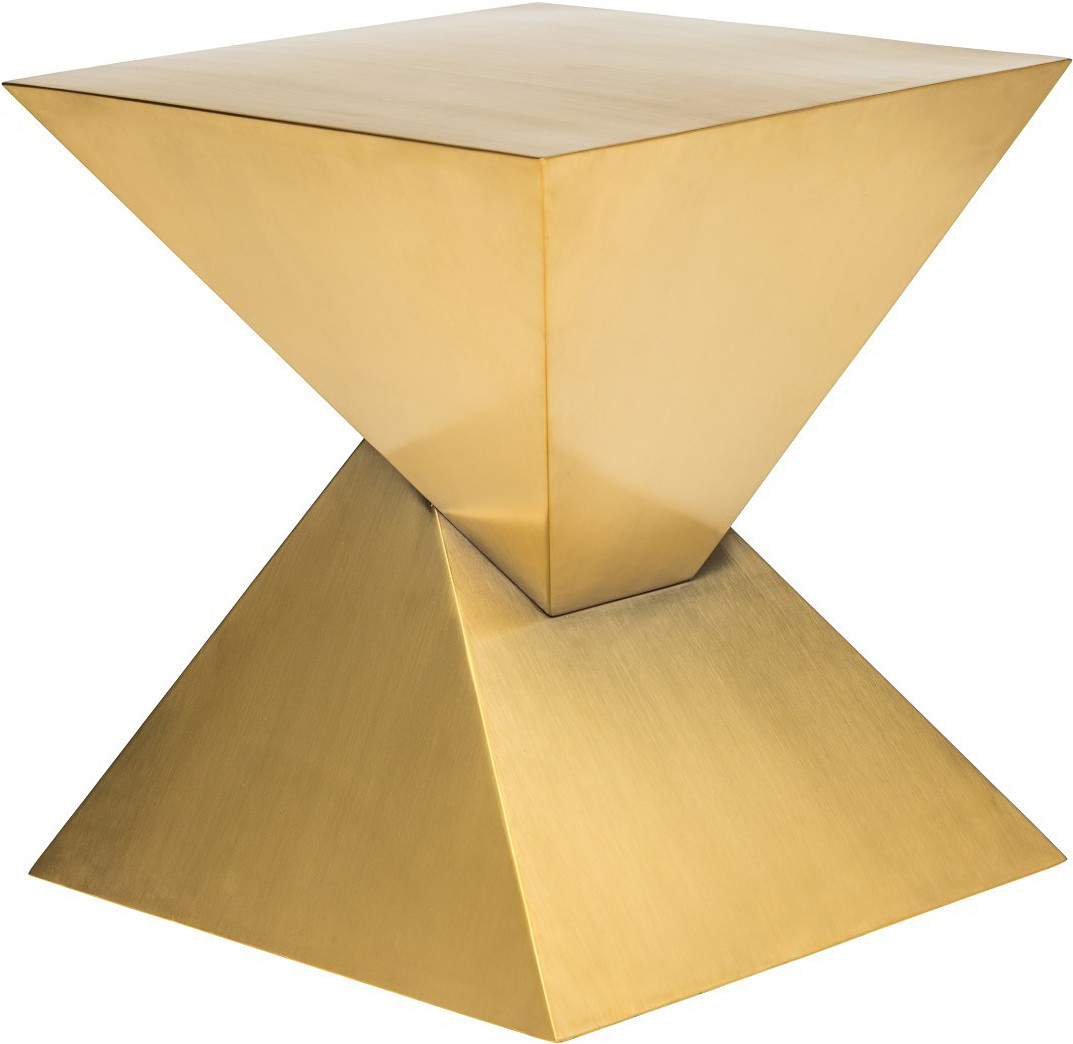 Pyramid End Table Gold Triangular Side Table
