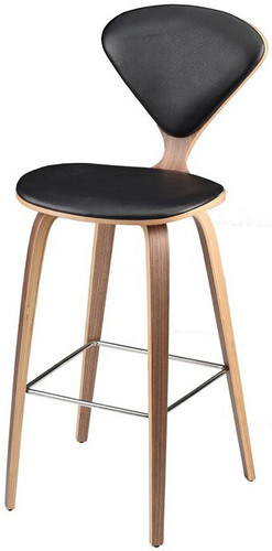 Satine Leather Counter Stool Black Leather
