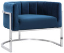 Chandler Navy Chair With Silver Base