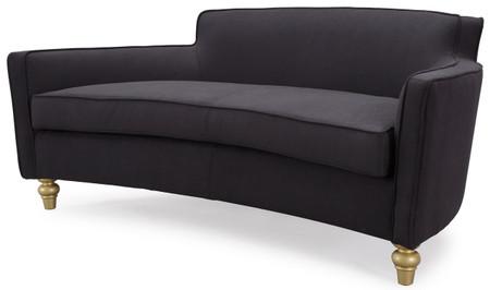 Hemingway Black Herringbone Velvet Sofa