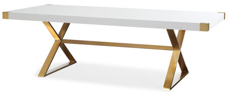Azalea Dining Table high gloss white lacquer finish
