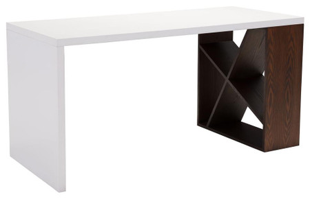 Slake Desk Espresso & White