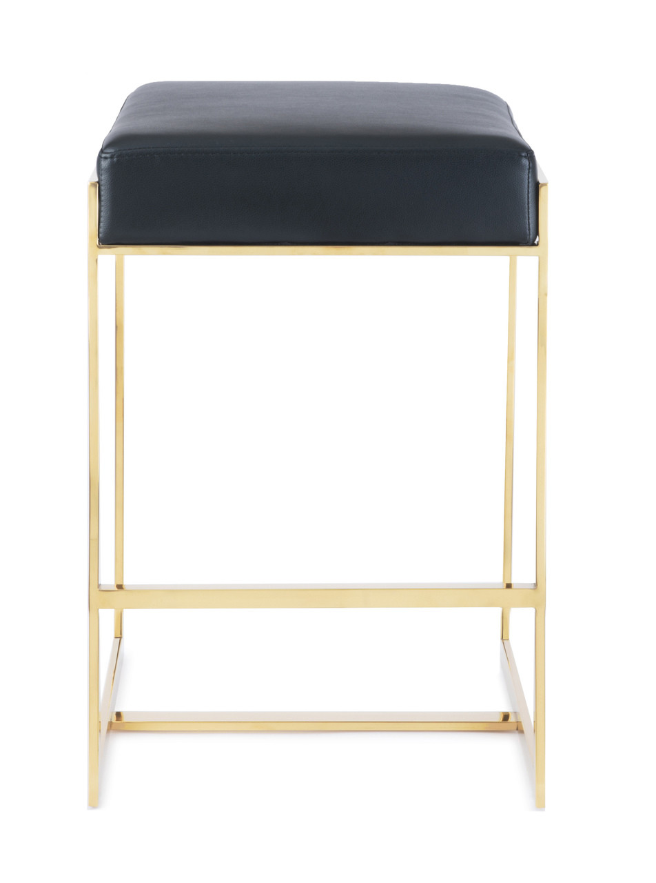 Palmer Backless Leather Seat Gold Frame Counter Stools