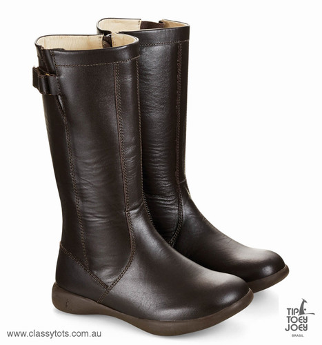 Tip Toey Joey Junior Boots Shoes - COFFEE IMAGINE - Girls Brown Winter Boots