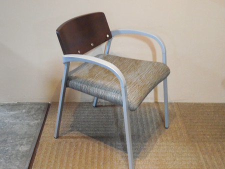 National Aurora Silver Frame Guest Chair