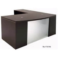 Express Laminate Bow Front L Shape Desk with Glass Modesty Panel. Also Available in Cherry and Mahogany