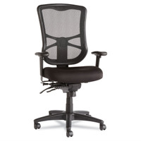 Alera Elusion Task Chair • Mesh back • Upholstered Seat • Fully functional • Height adjustable arms • Black base • Lumbar support • Available in various colors and upholstery options