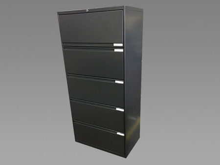 "OFS 30"" 5 Drawer Lateral File, Dark Metallic Gray"