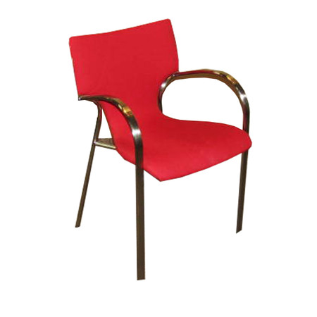 Bernhardt Red Fabric Guest Chair with Chrome Legs