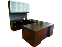 JSI U Shaped Desk with Hanging Credenza