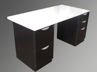 EOF 30x60 Desk, black peds, white top
