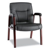 Alera® Madaris Series Leather Guest Chair w/Wood Trim