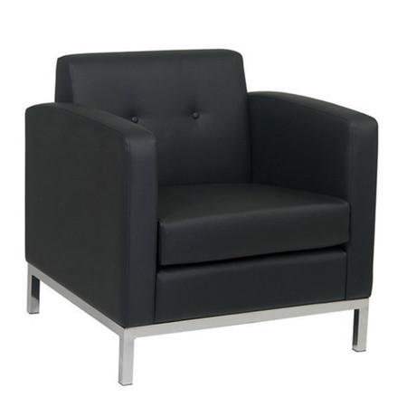 Office Star Ave Six Black Faux Leather Lounge Chair