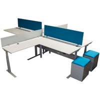 Clear Design Blade Series Height Adjustable Four Pack of Workstations