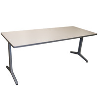 "30"" x 72"" White Training Table with Silver Legs"