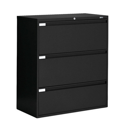 Global Black 3 Drawer Lateral File with Lock