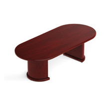 Offices to Go 8 Ft. Conference Boardroom Racetrack Wood Veneer Table Cordovan