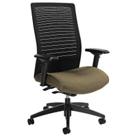 Global Tan Loover Mesh?Back Chair with Weight Sensing Synchro Tilter