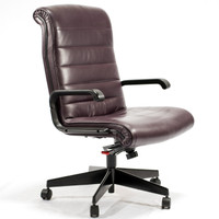 Knoll Sapper Series Burgandy High-Back Leather Executive Chair