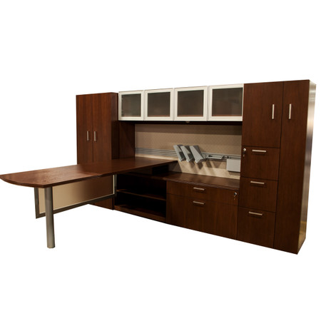 Global Lufton Series Walnut L-Shape Executive Desk
