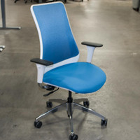 Via Genie Series Blue Executive Chair with White Frame
