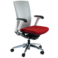Global G20™ Series White Mesh Task Chair With Candy Red Seat