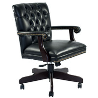 Global Black Leather Traditional Tufted Executive Conference Chair