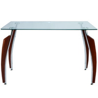 "30"" x 40"" Home Office Glass Desk With Cherry Frame Legs"