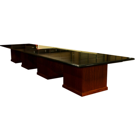 X Black Marble Granite Conference Table With PowerData Boxes - Conference table data boxes