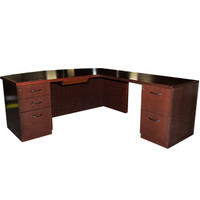 Geiger Bow Front L-Shape Dark Mahogany Desk