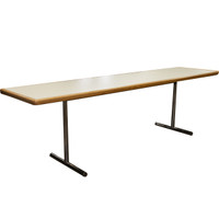 "White 24"" x 96"" Training Table With Maple Trim"
