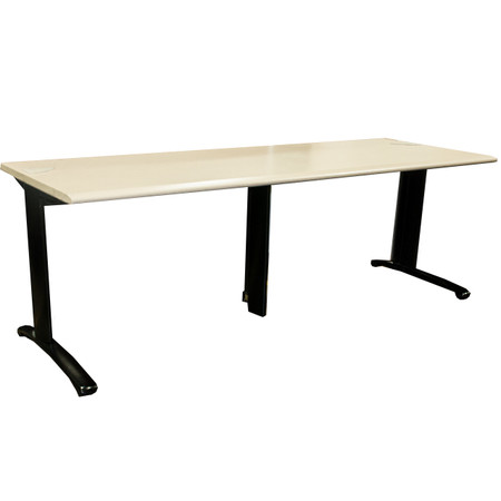 """Steelcase 30"""" x 84"""" Tan Training Table With Grommets"""