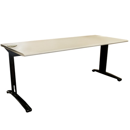 "Steelcase 30"" x 72"" Light Grey Training Table With Grommets"