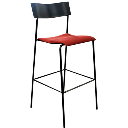 Barstool With Black Wood Back and Metal Frame