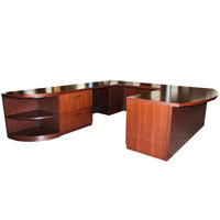 Geiger Bow Front Executive U-Shape Dark Cherry Desk