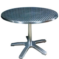 "36"" Round Cafe Titanium Finish Cafe Table With Chrome Steel Legs"