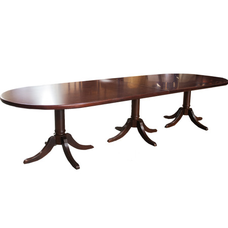 12' Mahogany Wood Veneer Traditional Racetrack Conference Table